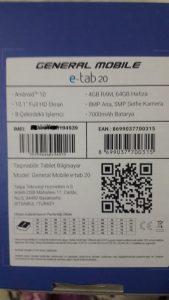 General Mobile E-Tab 20 Özellikleri